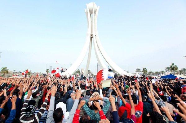 Manifestation de l'opposition sur la place de la Perle. Manama, Bahrein
